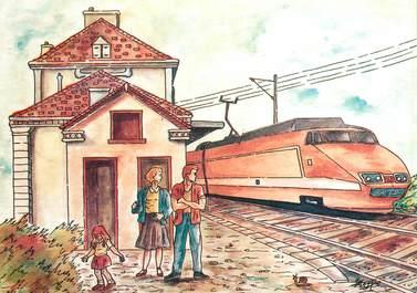 CPSM  ILLUSTRATEUR   MEDERIC / TGV