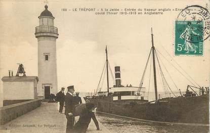 """/ CPA FRANCE 76 """"Le Tréport, entrée du vapeur anglais Envermeu"""" / BATEAU"""
