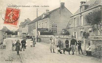 """CPA FRANCE 14 """"Sallenelles, l'Ecole et la mairie"""""""