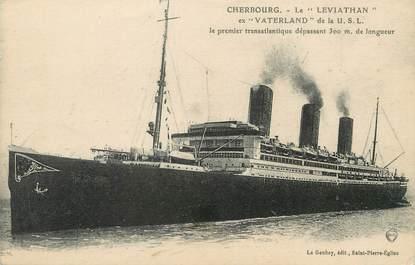 """/ CPA FRANCE 50 """"Cherbourg, le Leviathan ex Vaterland de la U.S.L"""""""