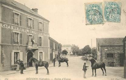 """CPA FRANCE 14 """"Mézidon, station d'Etalons, café et Hotel du Chemin de fer"""""""