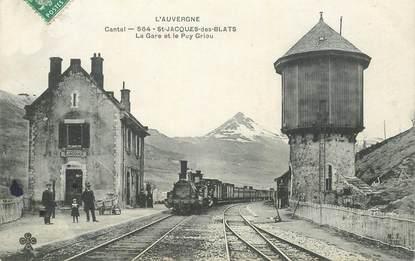 """CPA FRANCE 15 """"Saint Jacques des Blats, la gare"""" / TRAIN"""