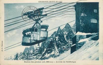 """/ CPA FRANCE 74 """"Chamonix Mont Blanc, station des glaciers"""" / TELEPHERIQUE"""