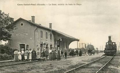 "CPA FRANCE 33 ""Cars Saint Paul, la gare"" / TRAIN"