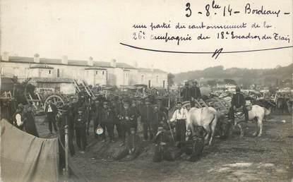 """LOT DE 2 CARTE PHOTO FRANCE 33 """"Bordeaux, une partie du cantonnement de la 26eme compagnie du 18ème escadron, 1914"""""""