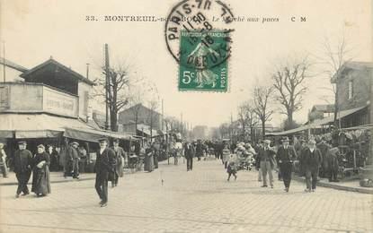 """/ CPA FRANCE 93 """"Montreuil sous Bois, le marché aux puces"""""""