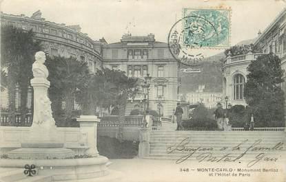 """/ CPA MONACO """"Monté Carlo, monument Berlioz et l'hôtel de Paris"""""""