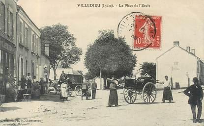 """CPA FRANCE 36 """"Villedieu, la place de l'Ecole"""""""