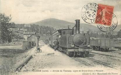 """CPA FRANCE 42 """"Pélussin, arrivée du tramway"""" / TRAIN"""