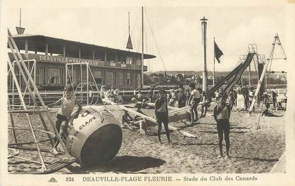 "/ CPA FRANCE 14 ""Deauville plage Fleurie, stade du club des canards"""