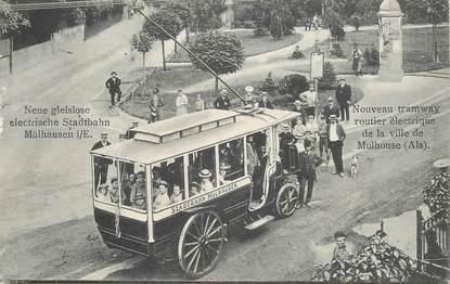 """CPA FRANCE 68 """"Mulhouse, tramway électrique"""""""