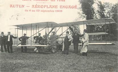 """CPA FRANCE 71 """"Autun, Aéroplane engagé, 1909"""" / AVIATION"""