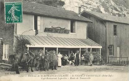 """CPA FRANCE 76 """"Environs de Saint Romain de Colbosc, Saint Vigor d'Ymonville, Café restaurant Leprettre"""""""