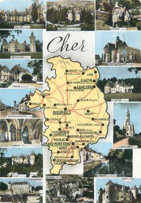 """/ CPSM FRANCE 18 """"Cher"""" / CARTE GEOGRAPHIQUE"""