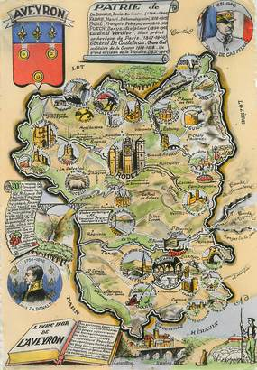 """/ CPSM FRANCE 12 """"Aveyron"""" / CARTE GEOGRAPHIQUE"""