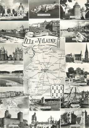 """/ CPSM FRANCE 35 """"Ille et Vilaine"""" / CARTE GEOGRAPHIQUE"""
