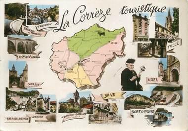 """/ CPSM FRANCE 19 """"La Corrèze"""" / CARTE GEOGRAPHIQUE"""
