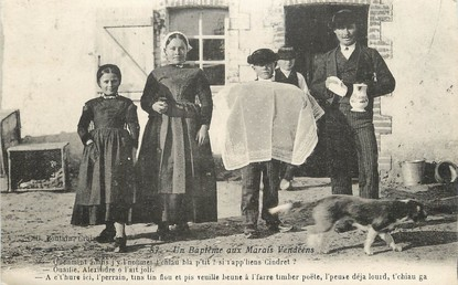 """/ CPA FRANCE 85 """"Un baptème aux Marais Vendéens"""" / FOLKLORE"""