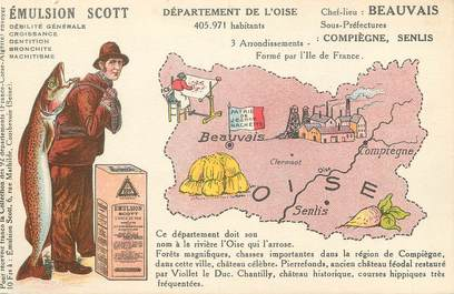 """/ CPA FRANCE 60 """"Oise"""" / CARTE GEOGRAPHIQUE"""