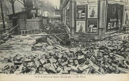 "/ CPA FRANCE 75007 ""Paris, rue Solferino et Bld Saint Germain"" / INONDATION"