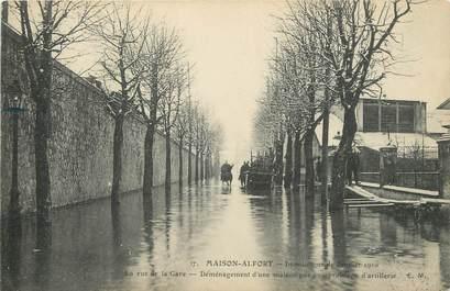 "/ CPA FRANCE 94 ""Maison Alfort, la rue de la gare"" / INONDATION / TEXTE"