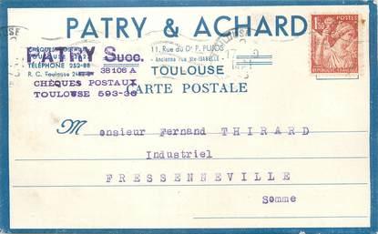 """/ CPA FRANCE 31 """"Toulouse"""" / CARTE PUBLICITAIRE"""