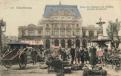 """CPA FRANCE 50 """"Cherbourg, jour de marché"""""""