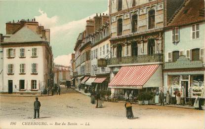 """CPA FRANCE 50 """"Cherbourg, rue du Bassin"""""""