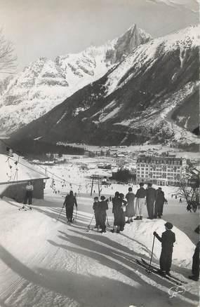 """/ CPSM FRANCE 74 """"Chamonix Mont Blanc, le remonte pentes et l'aiguille du Drû"""""""