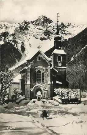 """/ CPSM FRANCE 74 """"Chamonix Mont Blanc, l'église et le Brévent"""""""