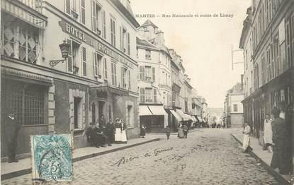 """/ CPA FRANCE 78 """"Mantes, rue Nationale et route de Limay"""""""