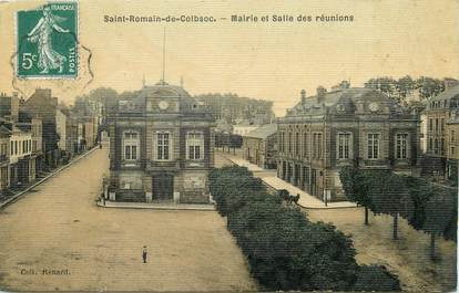 """/ CPA FRANCE 76 """"Saint Romain de Colbosc, mairie et salle des réunions"""" / CARTE TOILEE"""