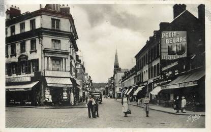 """/ CPSM FRANCE 76 """"Elbeuf, Place du Calvaire et rue du Neubourg"""""""