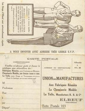"""/ CPA FRANCE 76 """"Elbeuf, union des manufactures"""" / LIVRET / CARTE PUBLICTAIRE"""