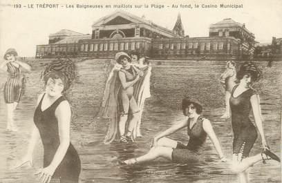 """/ CPA FRANCE 76 """"Le Tréport, les baigneuses en maillots sur la plage"""""""