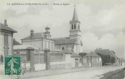 """/ CPA FRANCE 78 """"La Queue les Yvelines, mairie et église"""""""