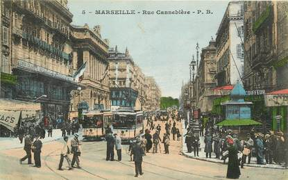 """CPA """"Marseille, rue Cannebière"""" / TRAMWAY"""