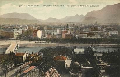 """CPA FRANCE 38 """"Grenoble, perspective sur la ville, vue prise du jardin des dauphins"""""""