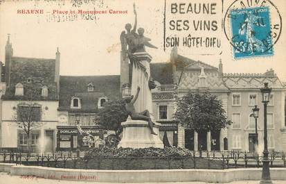 "/ CPA FRANCE 21 ""Beaune, place et monument Carnot"" / FLAMME"