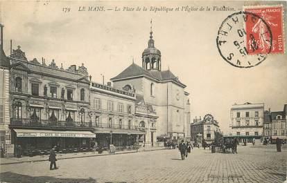 """/ CPA FRANCE 72 """"Le Mans, la place de la République et l'église de la visitation"""""""