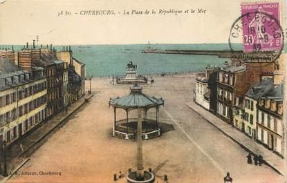 """/ CPA FRANCE 50 """"Cherbourg, la place de la République et la mer"""""""