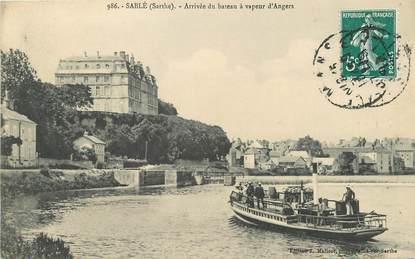 """/ CPA FRANCE 72 """"Sablé, arrivée du bateau à vapeur d'Angers"""""""