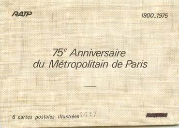 6 Cartes postales illustrées dans pochette / METRO / 75ème anniversaire du Métro de Paris  1900/1975