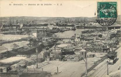 "/ CPA FRANCE 13 ""Marseille, bassins de la Joliette"" / TRAMWAY"