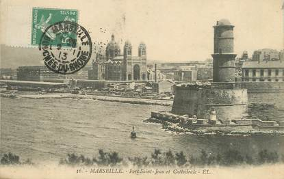 """/ CPA FRANCE 13 """"Marseille, fort Saint Jean et Cathédrale"""""""