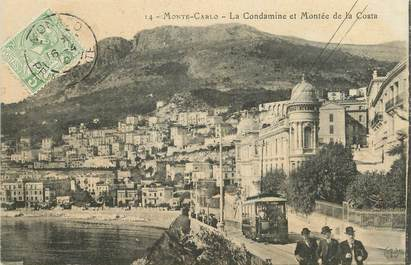 "/ CPA MONACO ""Monté Carlo, la condamine et montée de la Costa"" / TRAMWAY"