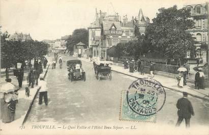 """/ CPA FRANCE 14 """"Trouville, le quai vallée et l'hôtel Beau Séjour"""""""