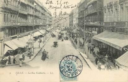 """/ CPA FRANCE 59 """"Lille, la rue Faidherbe"""" / TIMBRE TAXE"""