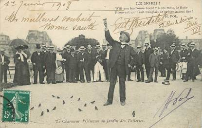 """/ CPA FRANCE 75001 """"Paris, le charmeur d'Oiseaux aux tuileries"""" / AUTOGRAPHE DE POETE"""