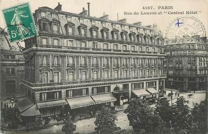 """/ CPA FRANCE 75001 """"Paris, rue du Louvre et central Hôtel"""""""